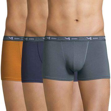Lot de 3 boxers jaune, gris et bleu orage DIM Coton Stretch-DIM