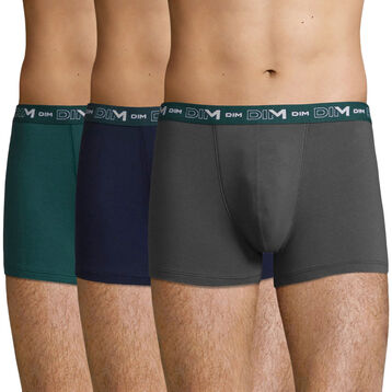 3 pack Men's Stretch Cotton trunks in Pacific Green, Granite and Denim, , DIM