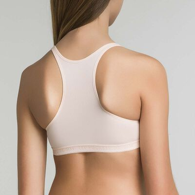 Sports bra for girl in peach pink - Pocket Micro, , DIM