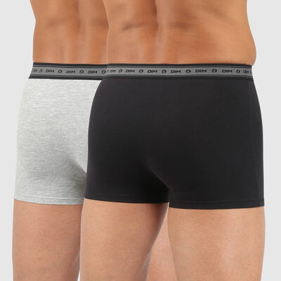 Lot de 2 boxers hommes coton stretch bio noir gris perle Green by Dim, , DIM