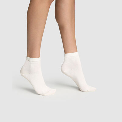 Pack of  2 pairs of women's socks in Mercerised Cotton Latte, , DIM