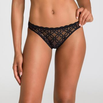 Chic Line embroidered black Brazilian briefs - DIM