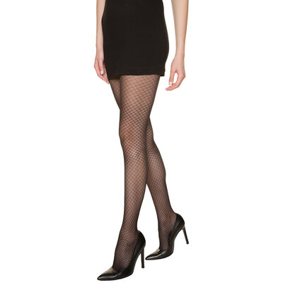 Madame So Chic 23 jewel patterned sheer tights in black, , DIM