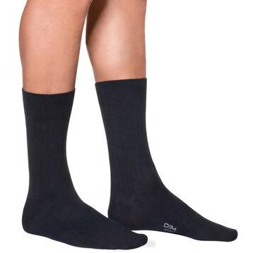 Dark blue men's ribbed mid calf socks, , DIM