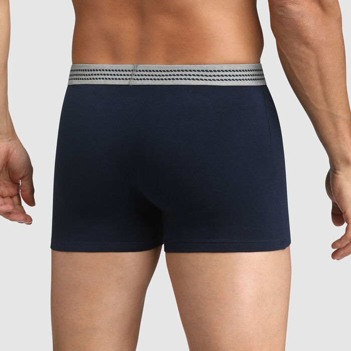 Men's  stretch cotton trunks Midnight blue with grey belt Dim Elegant, , DIM
