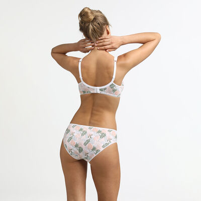Generous Organic Cotton underwire bra with tropical green print, , DIM