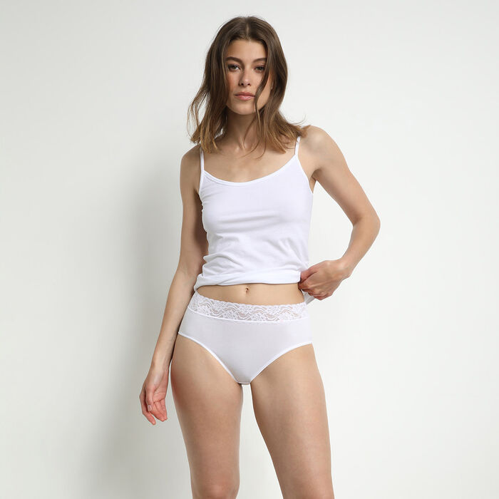 Pack of 2 pairs of Coton Plus Féminine high rise bikini knickers in white, , DIM