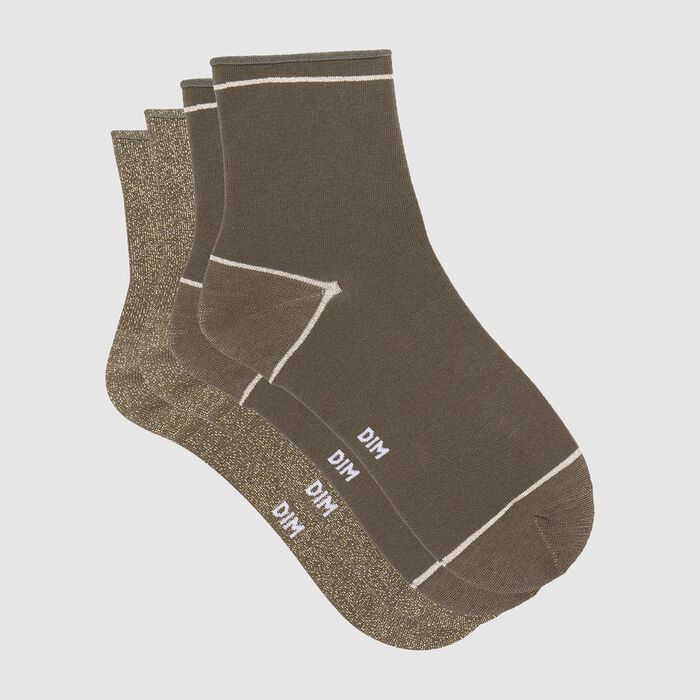 Cotton Style pack of 2 pairs of ankle socks in khaki cotton and gold lurex , , DIM