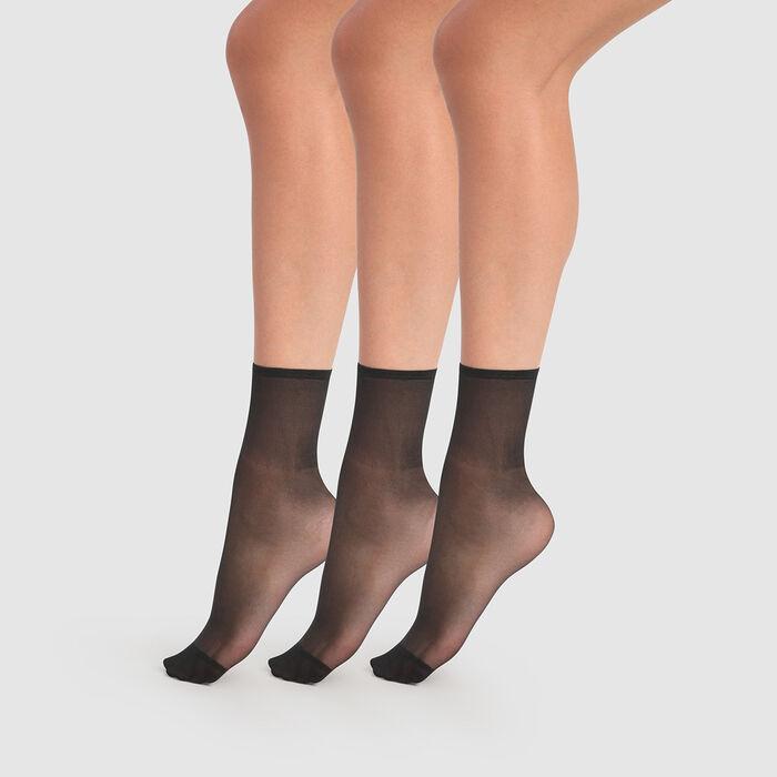 Set of 3 Beauty Resist transparent black 20D ankle socks, , DIM