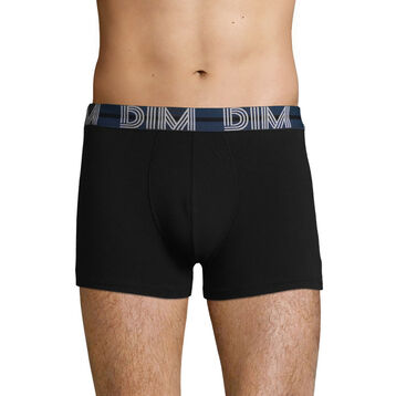 Stretch cotton trunks Black with Blue waistband Dim Powerful, , DIM