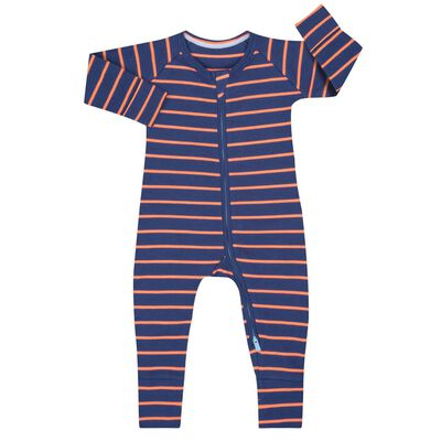 Cotton Stretch Zipped Pyjama with orange and grey stripes Dim Baby, , DIM