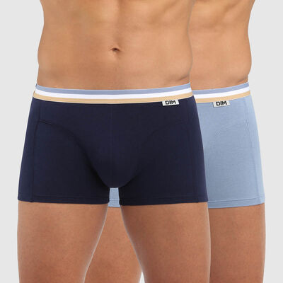 Pack of 2 stretch cotton trunks with three-coloured waistband arctic blue EcoDIM, , DIM