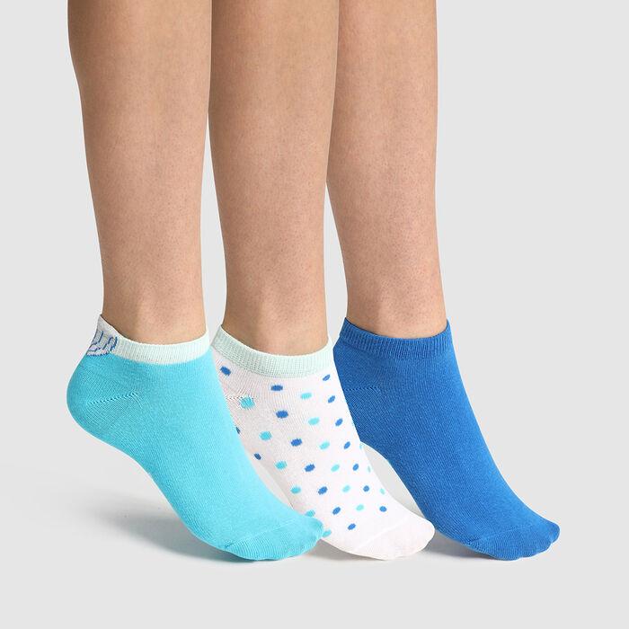 Lot de 3 paires de chaussettes enfant coquillage Bleu Coton Style, , DIM