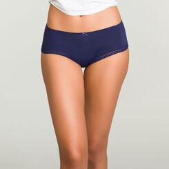 Infinite Blue microfiber shorty Micro Lace Panty Box, , DIM