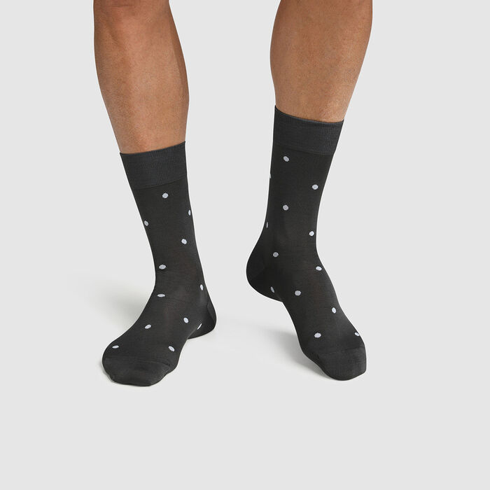 Men's Scottish thread sock with polka dots Blue Slate Made in France Dim, , DIM