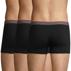 3 Pack men's stretch cotton trunks Black Daily Colors, , DIM