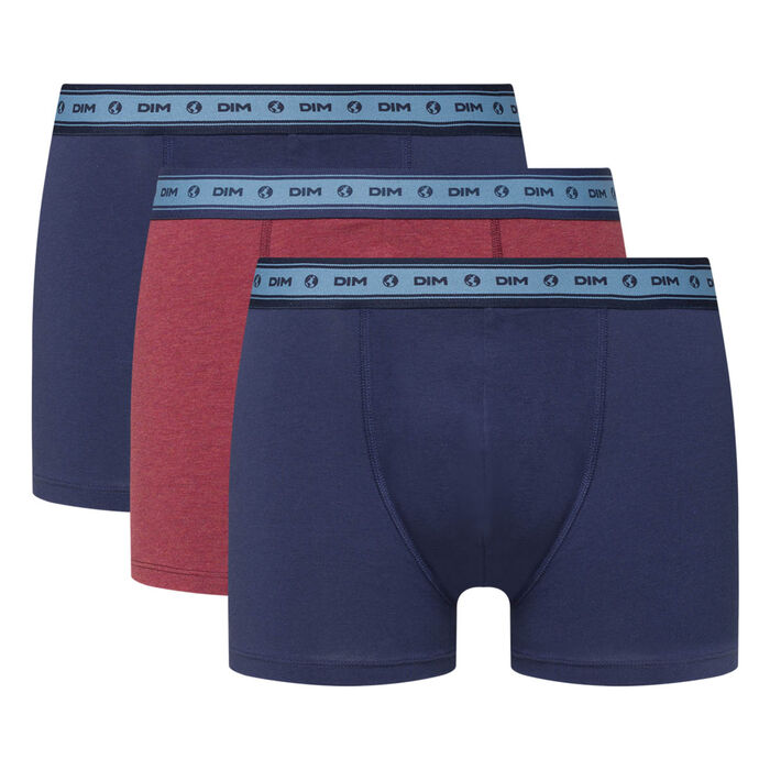 Green by Dim pack of 3 men's organic stretch cotton trunks in wine red and denim blue, , DIM