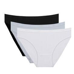 Lot de 3 slips noir/blanc/gris Les Pockets Coton-DIM