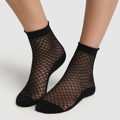 Calcetines bajos para mujer de algodón estampado escamas transparentes negro Made in France, , DIM