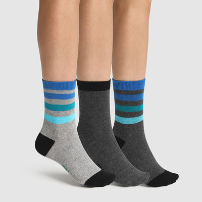 Pack of  3 pairs of children's socks in Blue Grey Cotton Stripe Style, , DIM