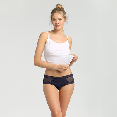 Dim Sexy Transparency pack of 2 infinite blue cotton and lace shorties, , DIM