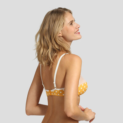 Yellow polka dot triangle bra Dim Generous Retro, , DIM