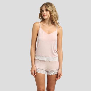 Caraco en coton modal et dentelle skin rose Cosy Lady de Dim, , DIM