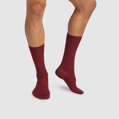 Dim Laine men's warm wool and cotton socks with check print Burgundy, , DIM