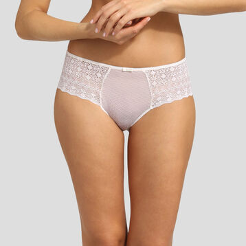 Dim Daily Glam pearl graphic lace and dotted swiss mesh shorty , , DIM