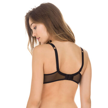Black Generous MOD embroidered underwired bra, , DIM