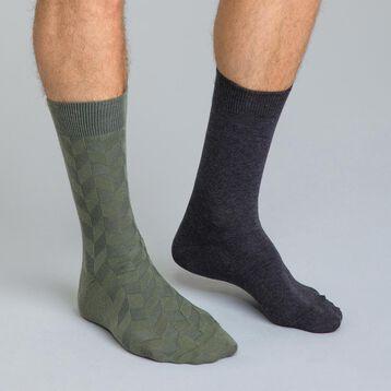 Lot de 2 chaussettes jeux de maille grises et bleues Homme-DIM