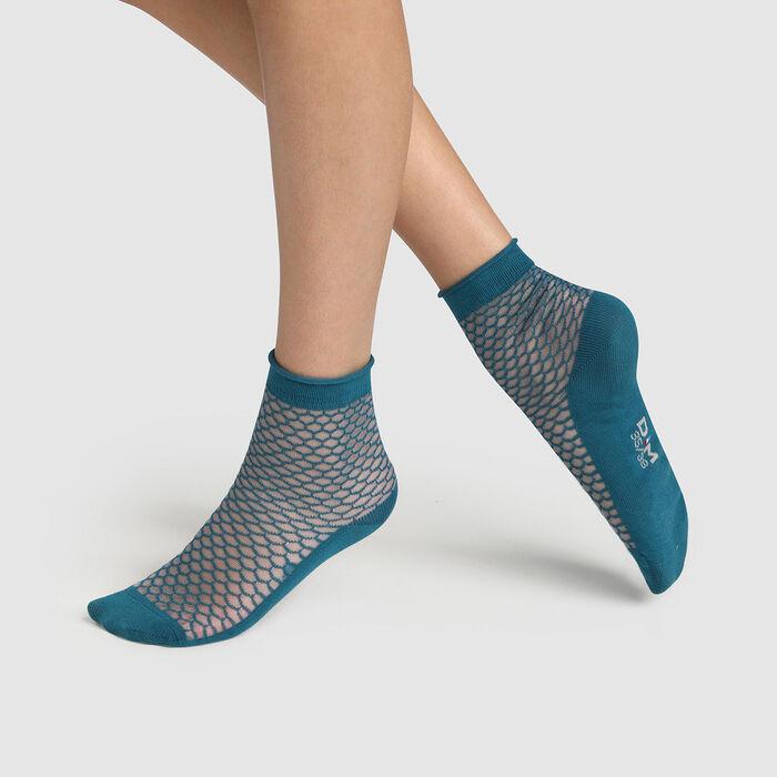 Socquette femme coton motif écaille transparent Bleu Made in France, , DIM