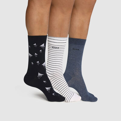 Pack of  3 pairs of men's socks with navy boat design Cotton Style, , DIM