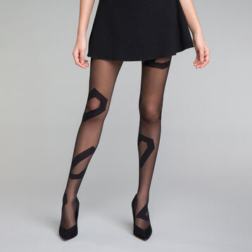 Asymmetrical pattern black 20 tights - DIM Style, , DIM