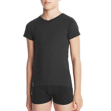 Black DIM Boy pure cotton V-neck short sleeved T-shirt - DIM
