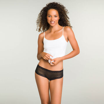Black women's polka dot mesh shorty Dotty Mesh Panty Box, , DIM
