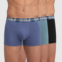 Dim Powerful 3 pack stretch cotton trunks in blue and black with contrast waistband, , DIM