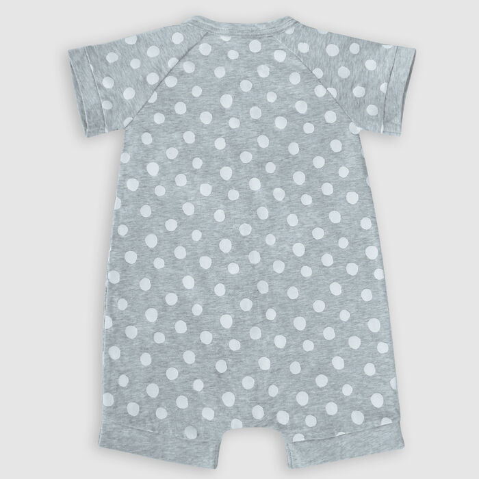 Barboteuse bébé zippée coton stretch grise motifs pois blanc Dim Baby, , DIM