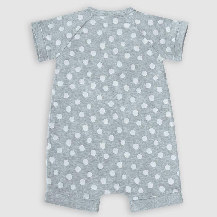Dim Baby Grey grey cotton stretch baby romper with white polka dots pattern, , DIM
