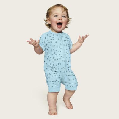 Pelele para bebé con cremallera de algodón elástico azul claro lluvia de estrellas Dim, , DIM