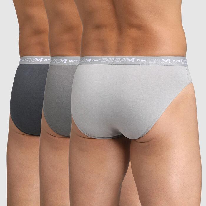 Pack of 2 men's cotton stretch briefs Steel Dark Grey Granite Grey Dim, , DIM
