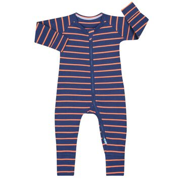 Pyjama zippé côtelé à rayures grises et oranges, , DIM
