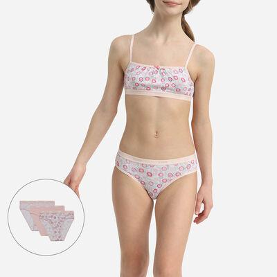 Les Pockets Pack of 3 Girls' Stretch Cotton Flower Print Briefs Pink, , DIM