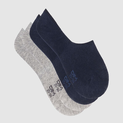 Basic Cotton pack of 2 pairs of short socks Navy Blue Grey, , DIM