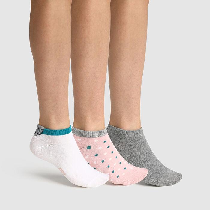 Lot de 3 paires de socquettes enfant motif coquillage rose Coton Style, , DIM