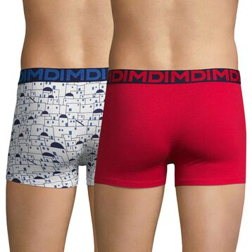 Lot de 2 boxers imprimé Cyclades et rouge - Dim Mix & Fancy, , DIM