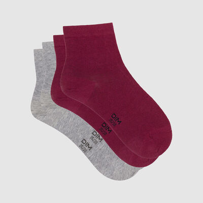 Lot de 2 paires de socquettes femmes bordeaux gris clair Basic Coton, , DIM