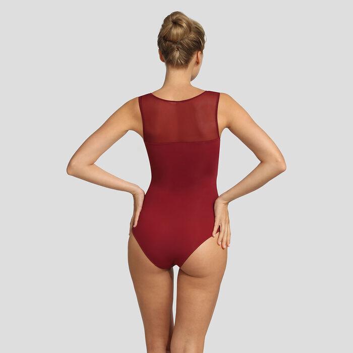Body sans armatures microfibre et tulle rouge Reine de Cœur Micro Mesh, , DIM