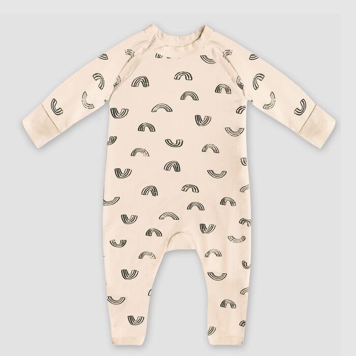 Dim Baby Rainbow print organic cotton vanilla baby pyjama with zipper, , DIM