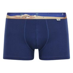 Stretch cotton trunks with printed waistband Eclipse Blue, , DIM
